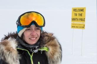 Pas de doute, il s'agit bien du pôle Sud - et du seul panneau d'information rencontré durant l'expédition !