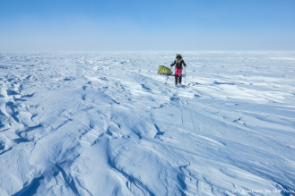 Tout semble si calme. Et pourtant, le vent balaie la glace. De face, il ralentit notre progression. La température ressentie est de l'ordre de -30 °C.